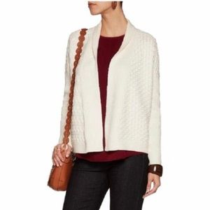 Tory Burch Ivory cable-knit cotton blend cardigan